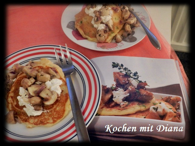 Frühlingszwiebel-Pfannkuchen mit Pilzen & Ziegenkäse
