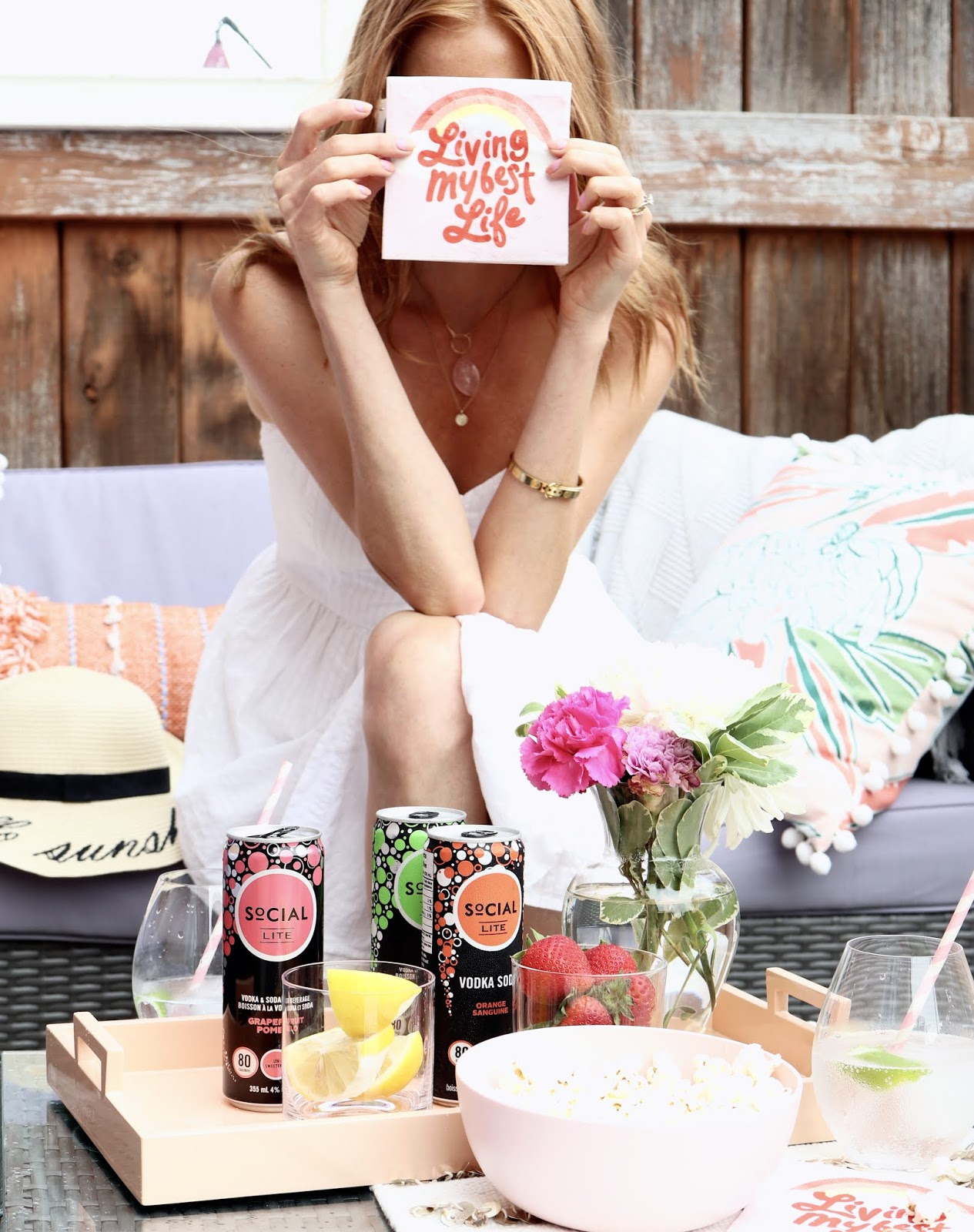 white topshop summer dress, hello sunshine hat, social lite vodka grapefruit pomelo