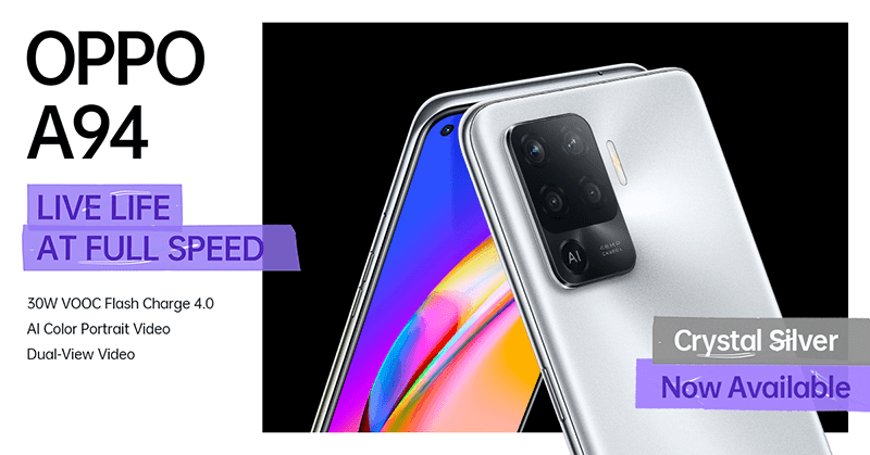 OPPO A94 Crystal Silver arrives in the Philippines, priced at PHP 13,999