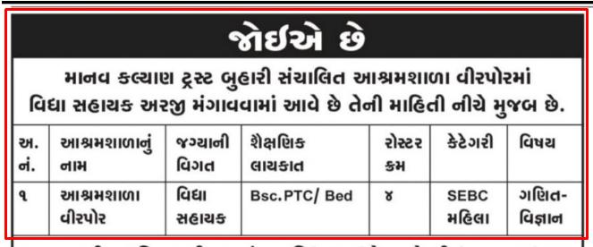 Virpor Ashram Shala Recruitment 2021 For Vidhyasahayak Posts