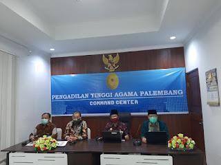 Ketua Pengadilan Tinggi Agama Palembang Mengadakan Virtual Meeting kepada Pengadialn Agama Sewilayah Pengadilan Tinggi Agama Palembang