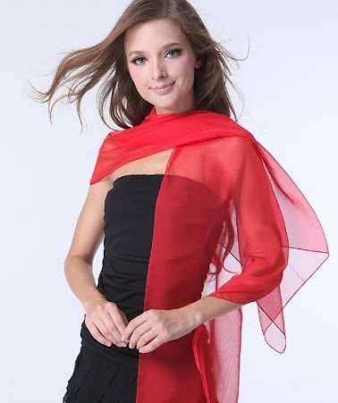 Long Sheer Soft Red Chiffon Scarves
