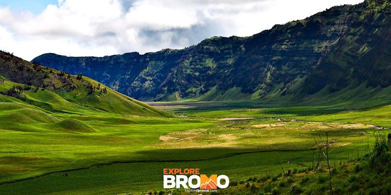 liburan bromo saat padang savana dan bukit teletubbies hijau