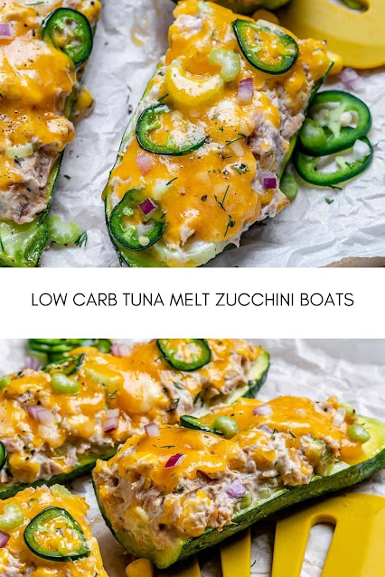 This tuna melt is seriously the best tuna melt recipe ever and they are completely guilt-free! They are so easy to make and the healthy version of the classic tuna melt. By swapping the bread for the zucchini, you will ultimately be making a super delicious low carb tuna melt. Alternatively, this recipe will also be considered keto-friendly for those who are on the keto diet. Ingredients 1 Large Zucchini halved lengthwise Kosher salt and pepper, to taste 1 5oz Can Tuna drained 1 Stalk Celery finely chopped ½ small Red Onion diced ¼ Cup Plain Greek Yogurt 2 Tbsp Chopped Dill 1 Tsp Dijon Mustard 1 Tbsp Fresh Lemon Juice 1 Jalapeno thinly sliced or chopped ¼ Cup Shredded Cheddar Cheese OPTIONAL TOPPINGS Corn Chopped Tomatoes Red chili peppers Green Onions Instructions  Preheat your oven to 350F and line a baking tray with parchment paper. Cut the zucchini in half lengthwise, then scoop out the insides and save for another use. Place the zucchini into the prepared baking tray, and spray with cooking oil. Season with salt and pepper to taste, then place into the middle rack of the oven and bake for 12-15 minutes, or until just tender. In a mixing bowl, add tuna, celery, red onion, yogurt, dill, mustard, lemon juice, and jalapeño. Mix until combined, then taste and season with salt and pepper as needed. Stuff the zucchini with the tuna mixture then sprinkle with cheddar. Continue to bake in the preheated oven for about 10 minutes, or until cheese is melted. Enjoy!