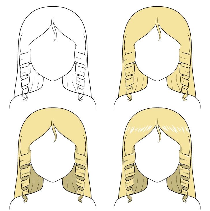 Shading rambut keriting anime selangkah demi selangkah