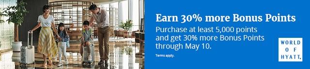 Hyatt凱悅最新買分活動,購買5000分及以上贈送30%獎勵(5/10前有效)