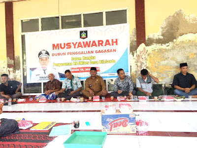 Kades Bilelando Panjaitan saat memimpin Musdus di Dusun Kelongkong desa setempat