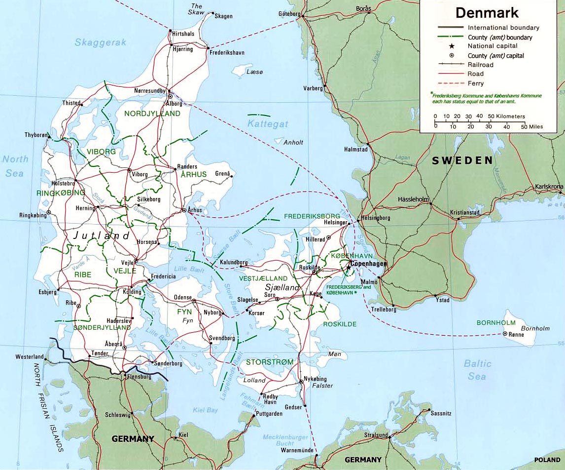 Dinamarca | Mapas Geográficos da Dinamarca