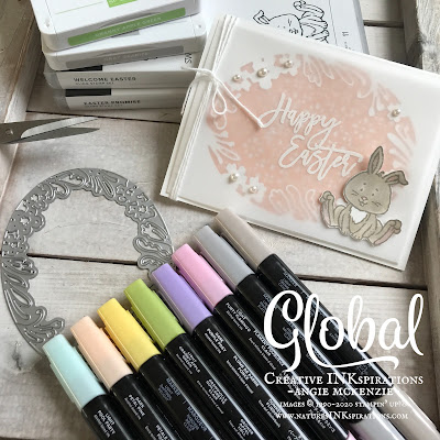 By Angie McKenzie for Global Creative Inkspirations; Click READ or VISIT to go to my blog for details! Featuring the Welcome Easter and Easter Promise stamp sets from the January-June 2020 Mini Catalog and the Petals Labels Dies and Stitched Lace Dies from the 2019-2020 Annual Catalog; #easterpromisestampset #welcomeeasterstampset #petalslabelsdies #stitchedlacedies #coloringwithblends #stampingtechniques #cardtechniques #stampinup #handmadecards #stampinblends #fussycutting #popupcards