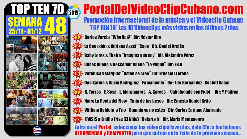 Artistas ganadores del * TOP TEN 7D * con los 10 Videoclips más vistos en la semana 48 (25/11 a 01/12 de 2019) en el Portal Del Vídeo Clip Cubano