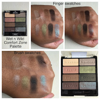 wet n wild comfort zone palette swatched on dark skin
