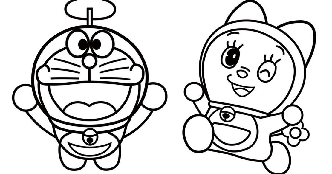 Kumpulan Sketsa Gambar Mewarnai Hitam Putih Kartun Dorami Doraemon