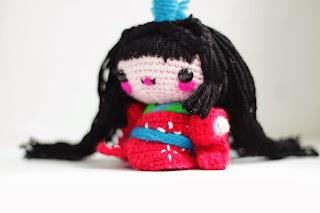 A crocheted Amigurumi Kokeshi - Kaguya Hime Doll