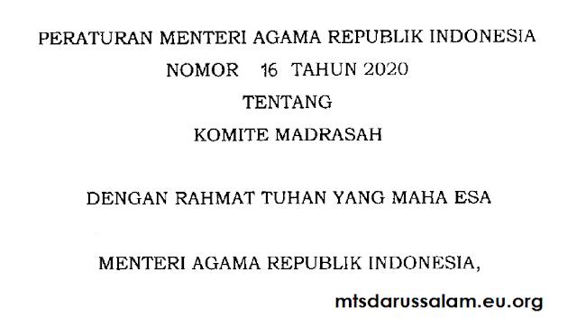 PMA Republik Indonesia Nomor 16 Tahun 2020 Tentang Komite Madrasah