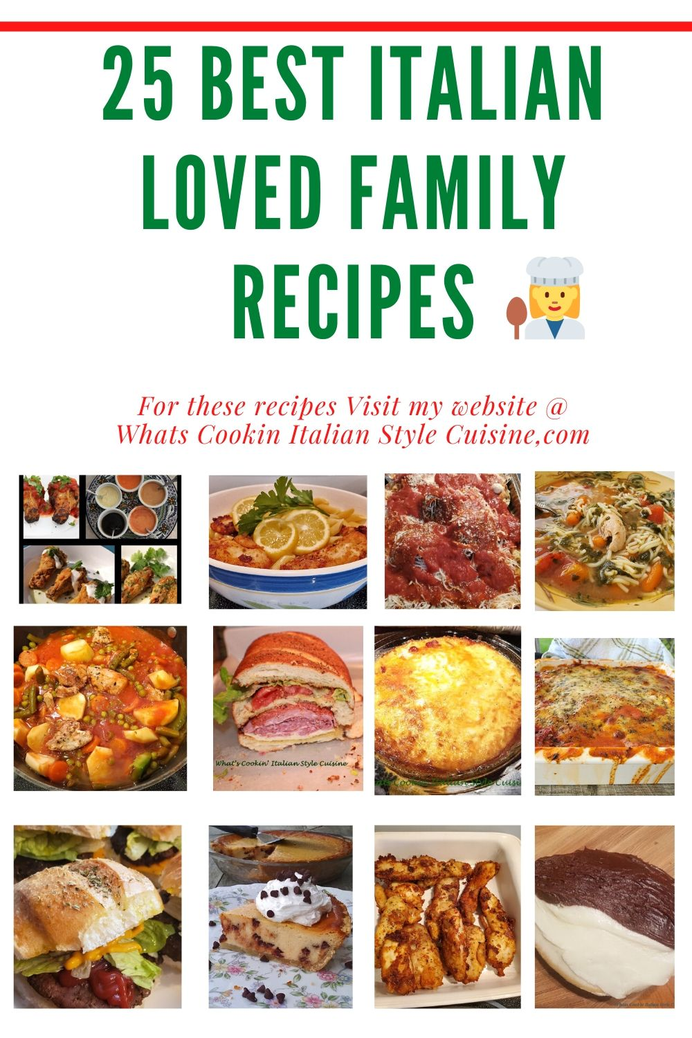 this is a pin for 25 best Italian recipes in a roundup and thumbnail photos of the roundup