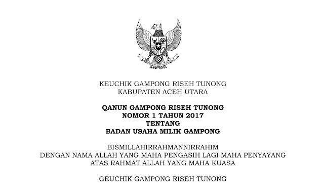 Contoh Qanun Gampong dan AD ART Badan Usaha Milik Gampong