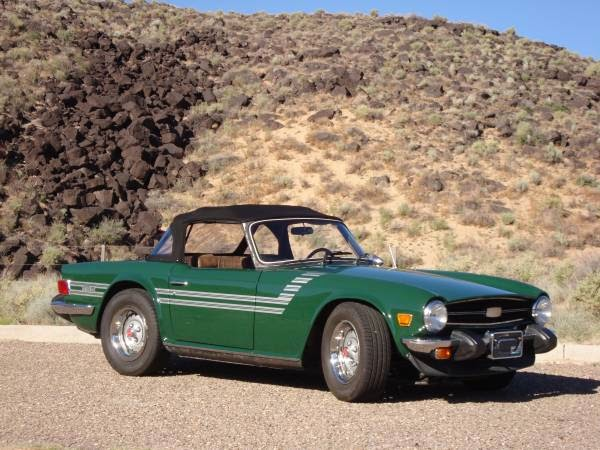 Triumph Tr British Racing Green on Classic Inline 6 Cylinder Engines
