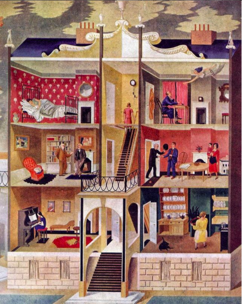 Eric Ravilious mural, Life in a Boarding House, 1930