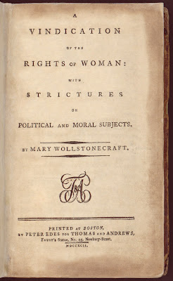 Mary Wollstonecraft's A Vindication of the Rights of Woman title page from the first American edition