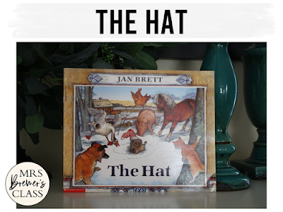 The Hat winter book study literacy unit with Common Core aligned companion activities and a craftivity for K-1