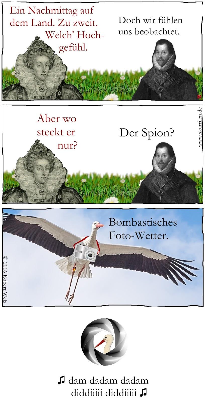 lustige James Bond 007-Parodie im historischen Comic mit spanischem Storch-Spion. Adebar beschattet Elizabeth I., Königin von England und ihren Piraten.