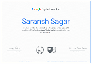 The Fundamentals Of Digital Marketing : Digital Marketing Certificate Of Saransh Sagar