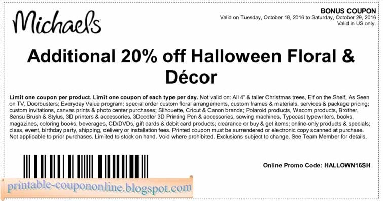 Printable coupon michaels november 2018