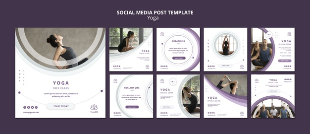 Social media post template with yoga Free Psd