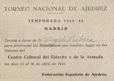 Pase de favor para la entrada al Torneo Nacional de Ajedrez de 1943