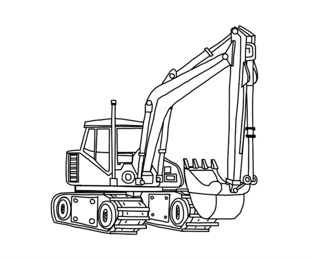 How to draw Excavator - Step by Step