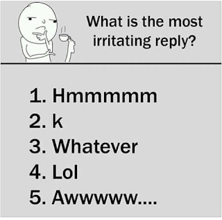To you, what is the most Irritating reply?
