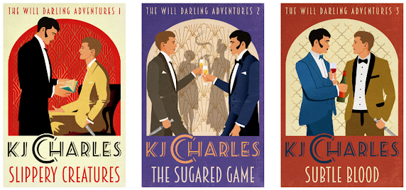 Cover art for the Will Darling Adventures trilogy by K.J. Charles