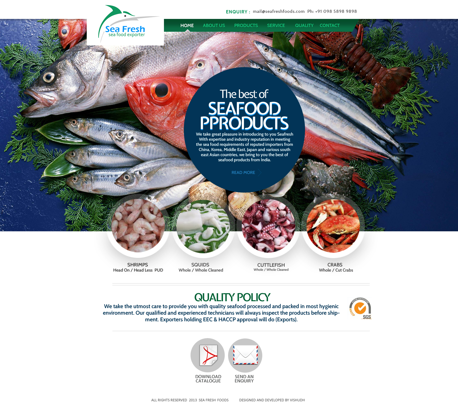 website for Sea Food Exporting Company in Kerala