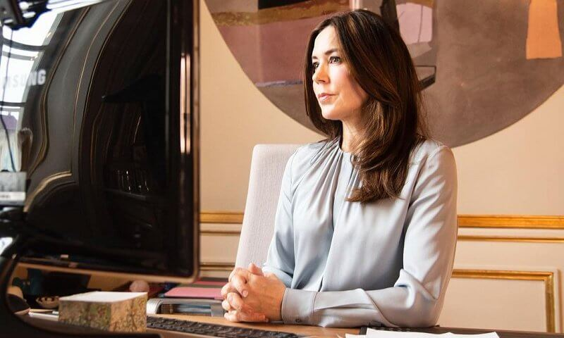 Crown Princess Mary wore a light blue banora silk-blend blouse from Hugo Boss. Women and Transformative Leadership for Generation Equality panel
