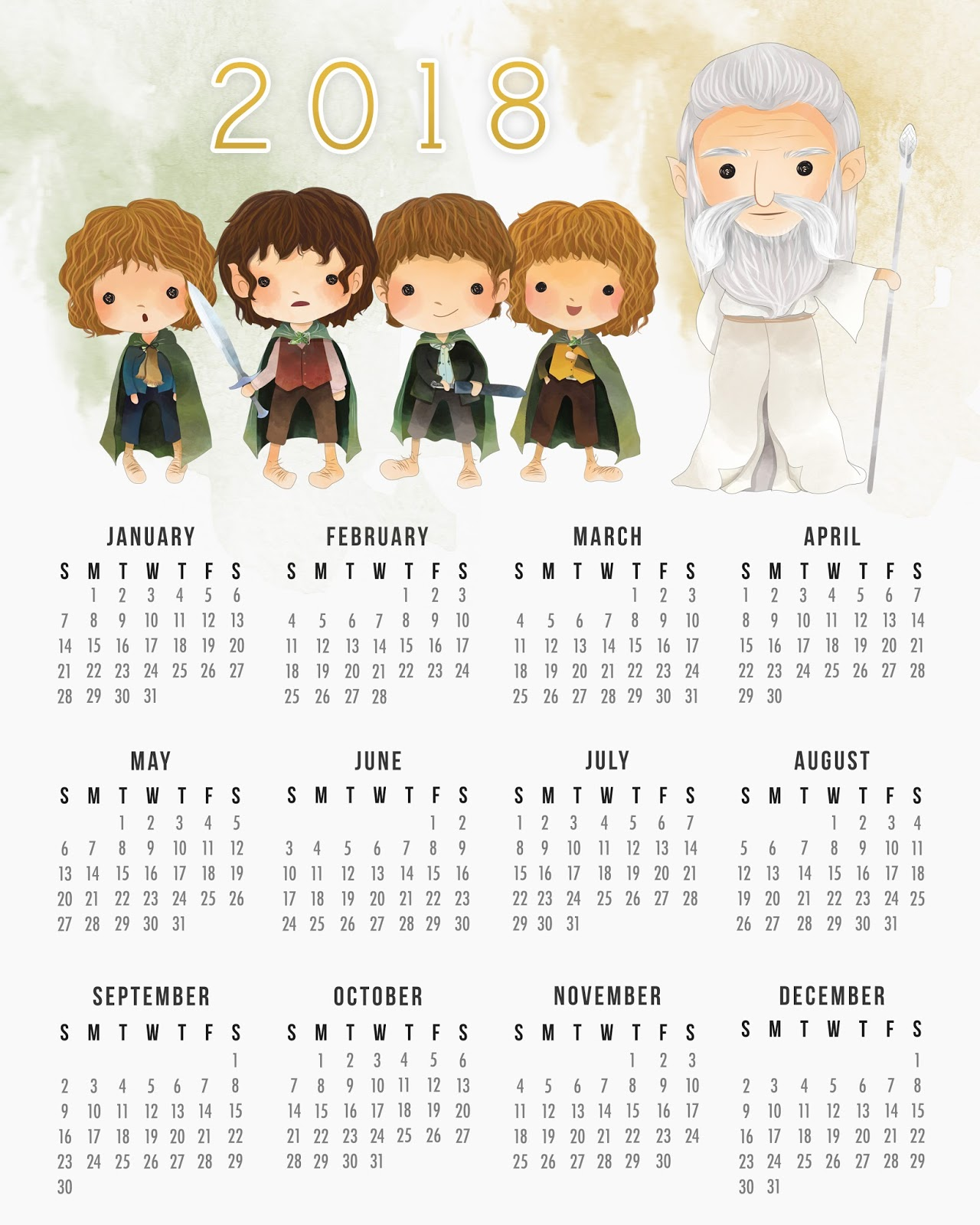Free Printable The Lord Of The Rings Calendar