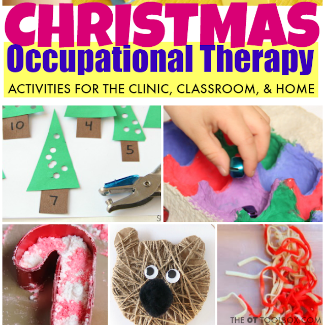 Use these Christmas activities for kids in occupational therapy while working on skills like fine motor skills, gross motor skills, visual motor skills, sensory concerns and other occupational therapy goal areas!