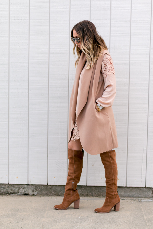 cognac suede over the knee boots