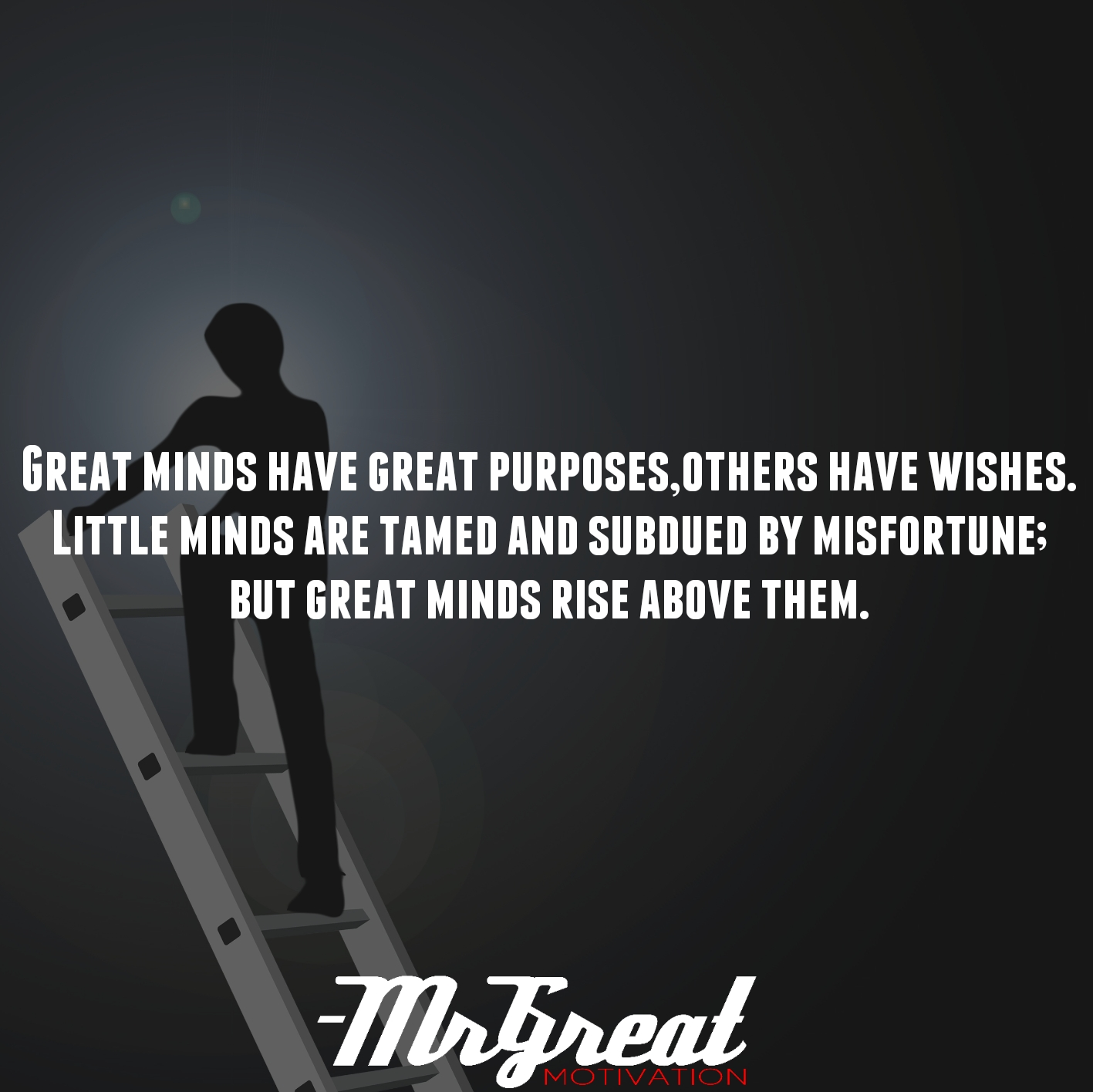 Great minds have great purposes, others have wishes. Little minds are tamed and subdued by misfortune; but great minds rise above them - Washington Irving