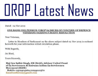 Demands of Defence Ex-servicemen on OROP requiring immediate action