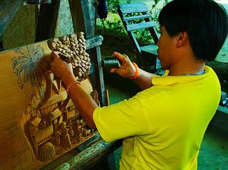 Thailand handicraft teak wood carving