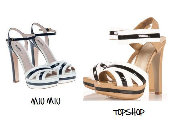 Clones 2011 sandalias Miu Miu Topshop