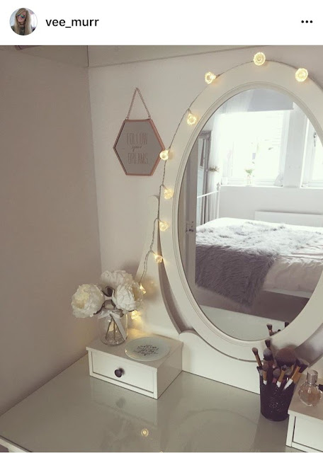 Dressing table with fairy lights