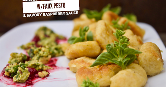 Chickpea Gnocchi with Faux Pesto and Raspberry Sauce