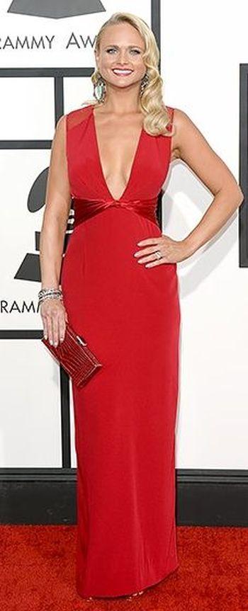 Miranda Lambert in a red Pamella Roland dress at the Grammys 2014