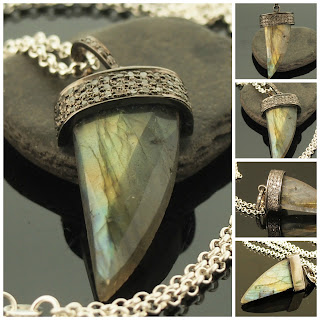 Labradorite Horn Tusk Necklace Sterling Silver with Diamond Pave 22 Inch Rolo Chain Chunky Pendant Great Mens/Unisex April Birthstone Gift