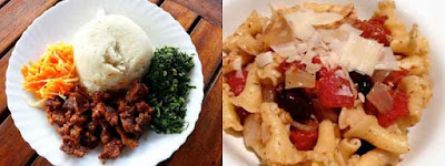 Split image with right photo depicting Kenyan food and the right photo depicting pasta
