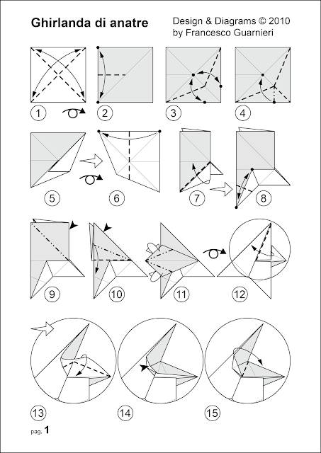 Modular origami, diagrams pag. 1, Ghirlanda di anatre - Garland of ducks © Francesco Guarnieri