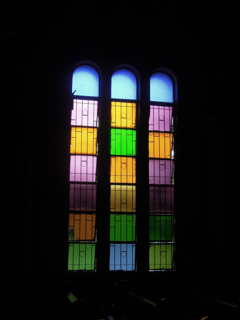Stained-glass window of the Sacred Heart Parish - Shrine
