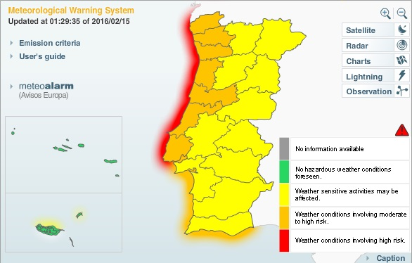 Current weather map of Portugal