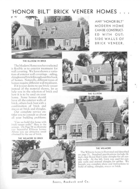 brick veneer option discussed in 1936 Sears catalog